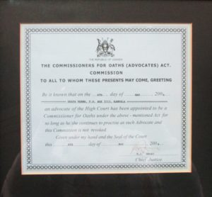 Advocates Act 2004, Commissioner for Oaths